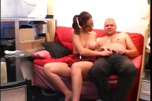youthful girlfriend sucks and copulates an old