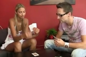 she is loses at disrobe poker and receives