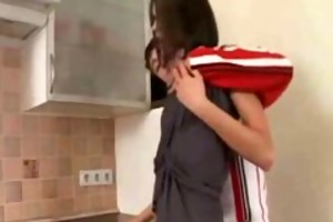 tall brunette hair model sister kitchen sex with