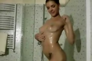 mature chap younger beauty showering