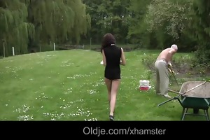 old chap lured by hussy teeny lilu to fuck