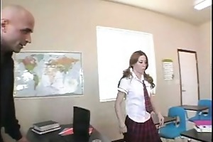blond coed rubs her snatch to her teachers cock