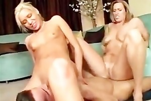 mother and stepdaughter share a sexy lad and fuck