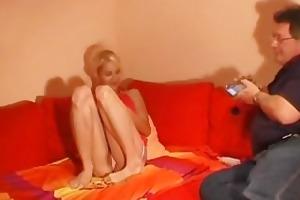 blond non-professional girlfriend masturbates her