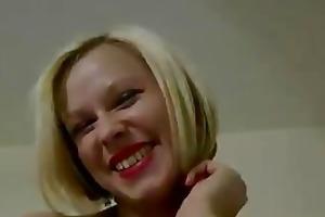 blond slut in nylons fingers herself