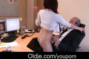 old boss bonks his youthful secretary on the desk