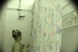 helen takes shower - not her brother spies
