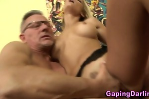 babe acquires a jizz flow from old chap