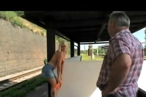 old guy blackmails cute golden-haired bitch for