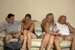 mother and daughter jerking two lads off