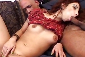 youthful indian gal plays with one old dong