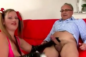 old chap younger hottie cook jerking and jizz flow