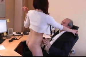 ardent juvenile secretary tease her old boss to
