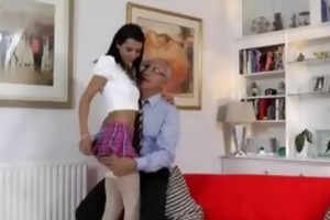 playgirl plays with pussy in advance of old man