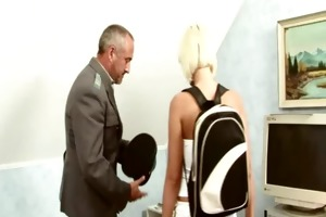 mature lad plays pervert scene with youthful blond