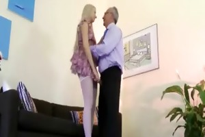 sweet chick seduces old fellow