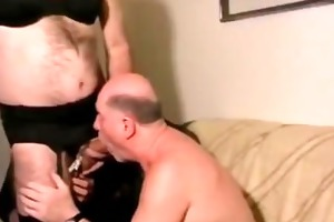 old fellow with crossdressers. dad swallow piss