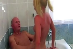 grand-dad copulates golden-haired playgirl in