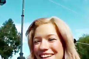 mature lad younger girl flirting for the camera