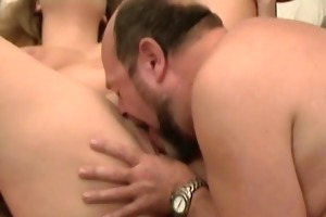 old lad eats out younger pussy