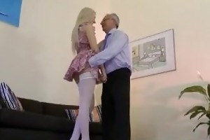 old fellow fucking high heels blond