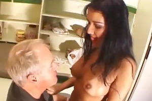 pantoons sucked breasty chick gives a oral
